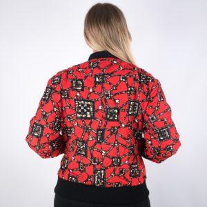 Rote Bomberjacke für Damen - Rückseite