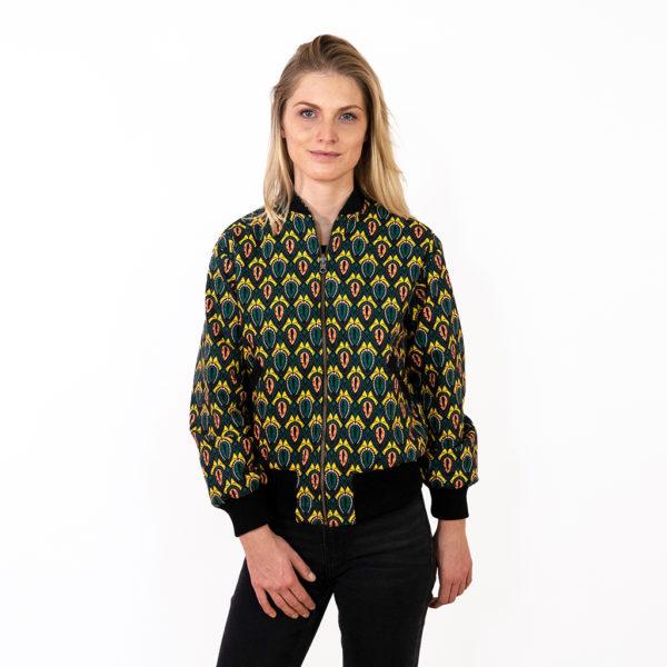 Bunte Bomberjacke für Damen in gelb und grün