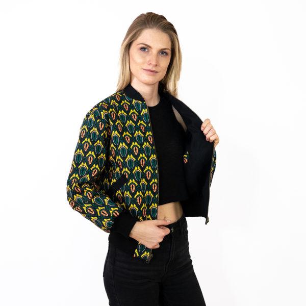 Bunte Wendejacke in Grün und Gelb für Damen mit schwarzer Innenseite