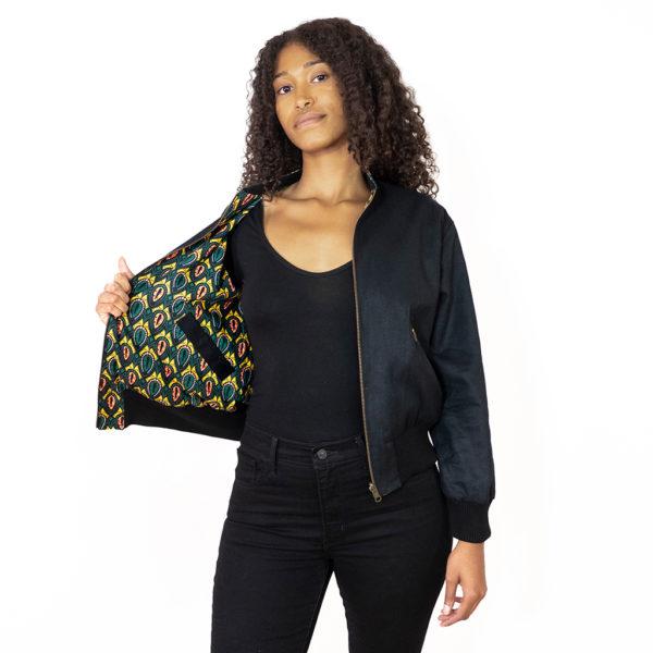 Schwarze Wendejacke für Damen mit gelb-grüner Innenseite