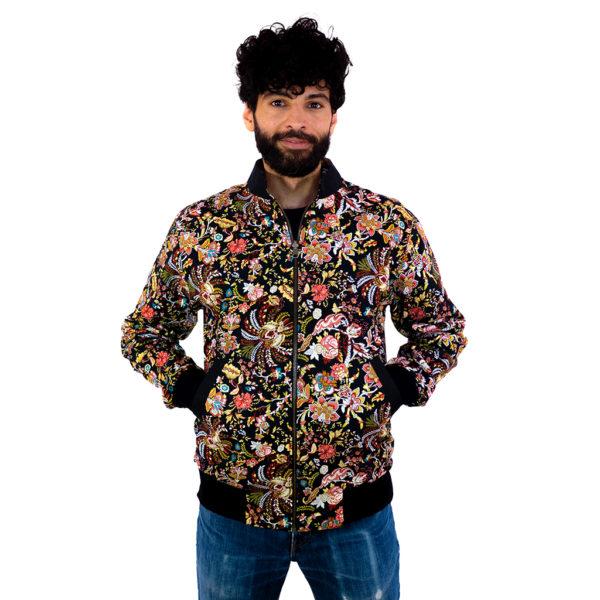 Bunte Bomberjacke im floralen Design für Herren